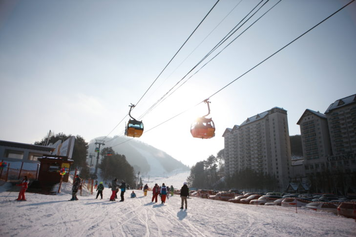 Auch in Südkorea geht es mit der Gondel gen Gipfel.