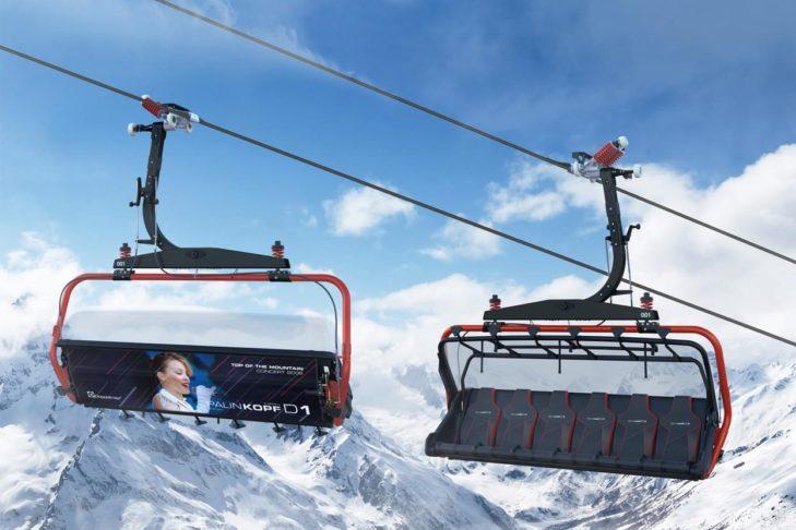 Skigebiet Ischgl: Sessel der neuen Palinkopfbahn mit den Musikstars der Top-of-the-Mountain-Konzerte.