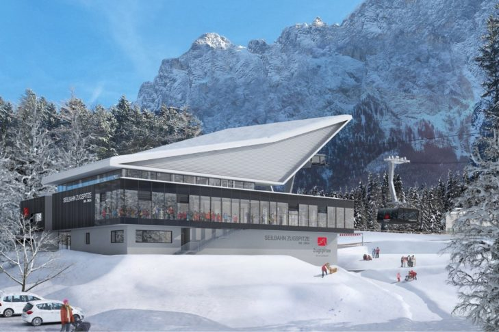 Grafische Darstellung der Talstation der neuen Zugspitzbahn.