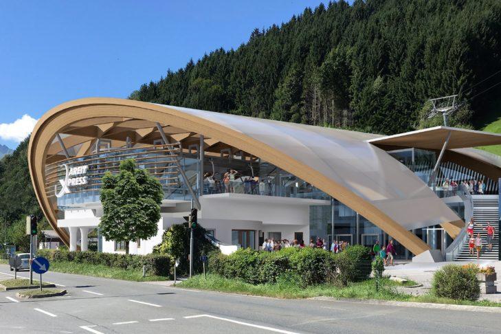 Visualisierung der neuen Talstation des Areit Express'.