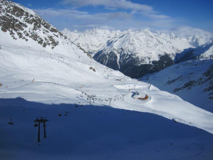 Traumhaftes Panorama im Skigebiet Sölden.