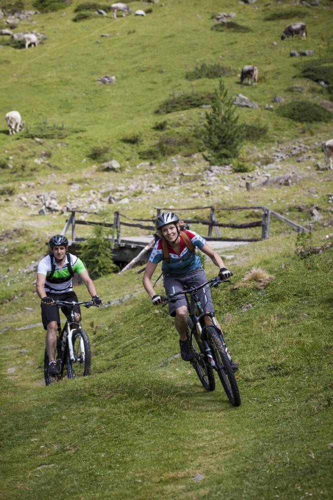 Mountainbiken auf saftig grünen Almwegen.