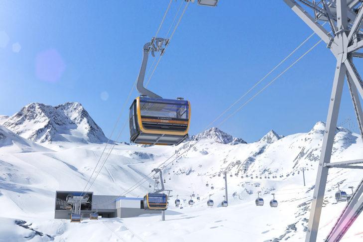 Die neue Eisgratbahn am Stubaier Gletscher besitzt 24 Sitzplätze pro Gondel.