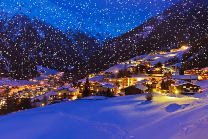 Idylle pur am Abend in den Bergen.