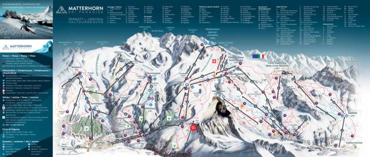 Pistenplan Skigebiet Matterhorn ski paradise Zermatt