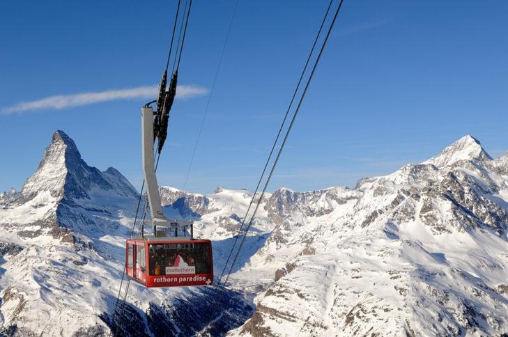 Auch aus der Rothorn-Gondel ist das Matterhorn wunderbar zu sehen.