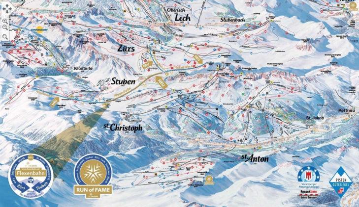 Ski Arlberg piste map