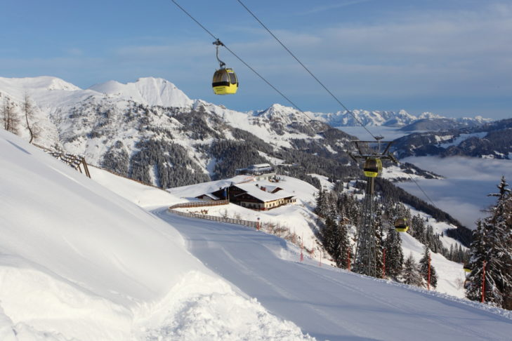 Moderne Gondeln, gut situierte Berghütten und malerisches Panorama.