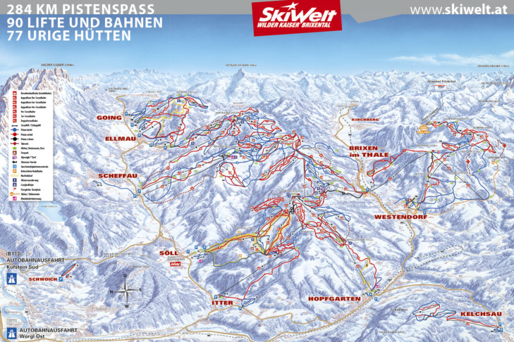 Pistenplan SkiWelt Wilder Kaiser - Brixental.