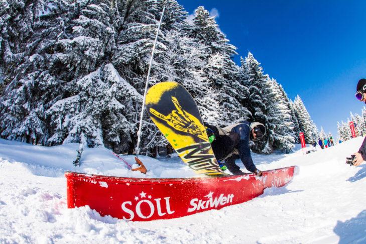 Snowpark in der SkiWelt Söll.