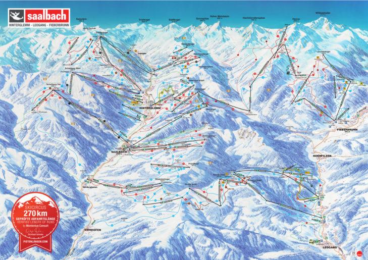 Piste map of the Skicircus Saalbach Hinterglemm Leogang Fieberbrunn ski area