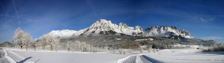 Winterliches Bergpanorama am Wilder Kaiser.