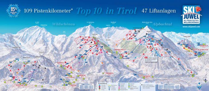 Pistenplan Skigebiet Ski Juwel Alpbachtal Wildschönau