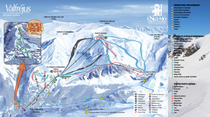 Pistenplan Skigebiet Valfréjus
