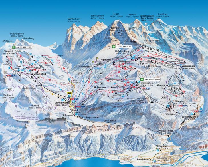 Pistenplan Skigebiet Grindelwald/First & Kleine Scheidegg/Männlichen