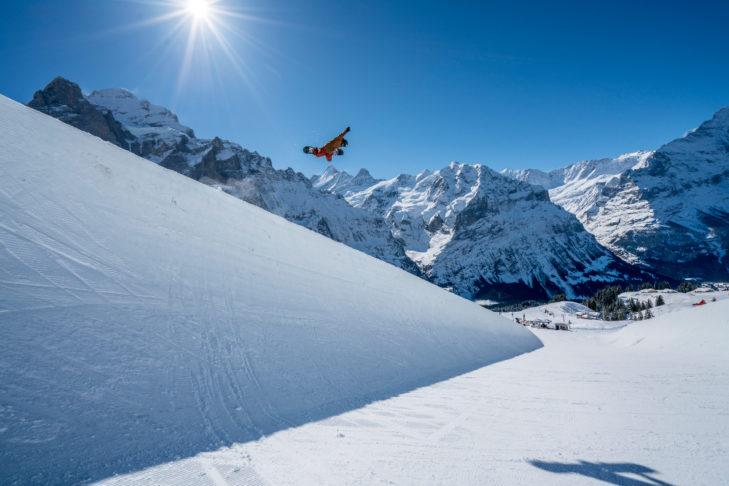 Skigebiet Grindelwald: Die Halfpipe im White Elements Snowpark misst 130 m Länge.