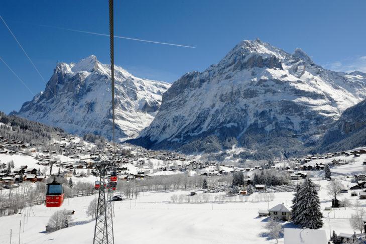 Skigebiet Grindelwald: Gondelauffahrt auf den Männlichen.