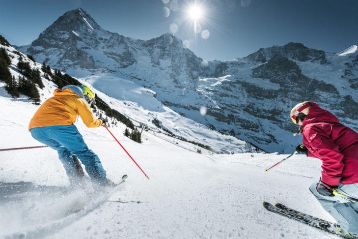 Sportlich und genüsslich ist das Skifahren an First, Kleine Scheidegg und Männlichen.