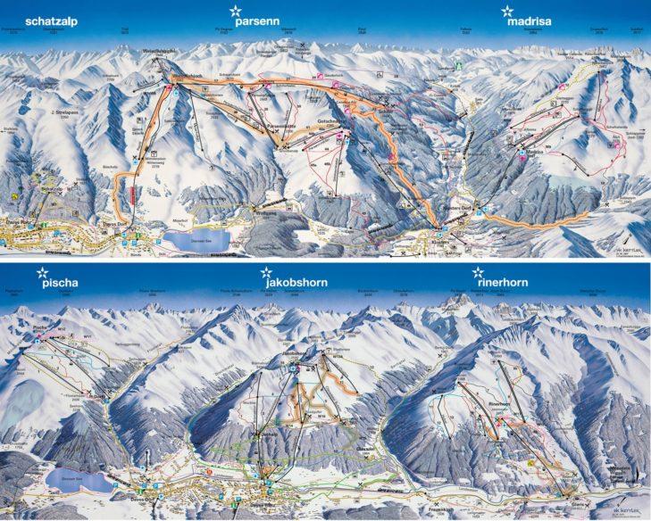 Pistenplan Skigebiet Davos Klosters Mountains