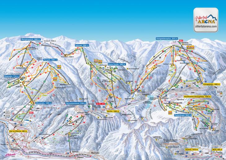 Zillertal Arena piste map