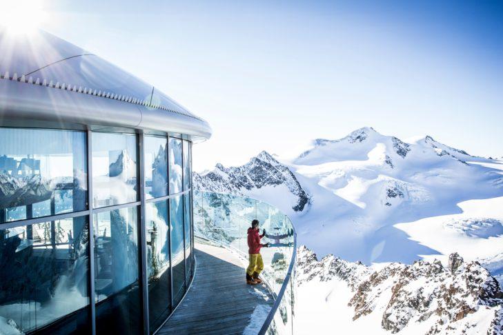 Auf 3.440 m am Pitztaler Gletscher.