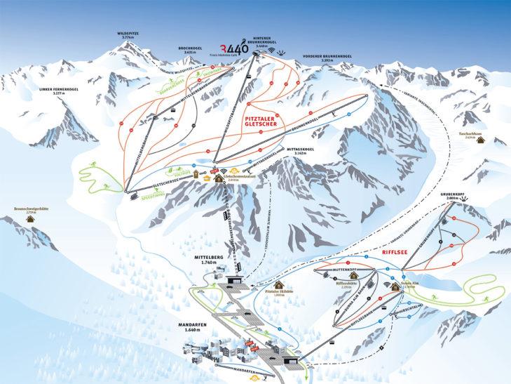 Pistenplan Skigebiet Pitztaler Gletscher