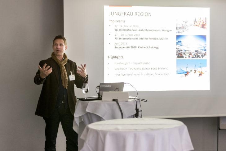 Reisebericht aus der Jungfrau Region: Harry John, Direktor der BE! Tourismus AG, präsentierte touristische Highlights der Jungfrau Region.
