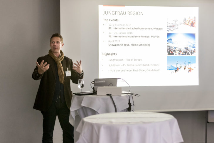 Harry John, Direktor der BE! Tourismus AG, präsentierte touristische Highlights der Jungfrau Region.
