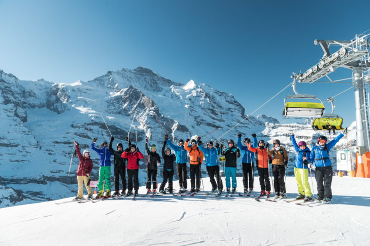 Die Event-Teilnehmer im Skigebiet Kleine Scheidegg/Männlichen.