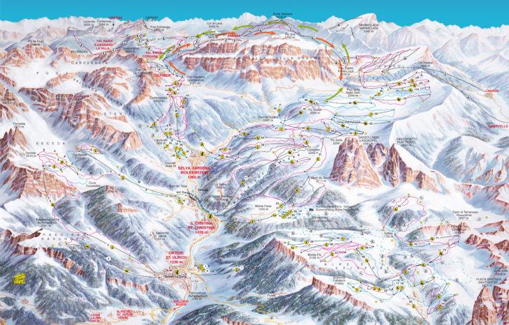 Pistenplan Val Gardena-Alpe di Siusi
