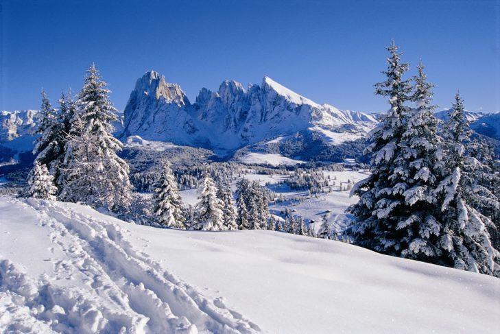 Wintertraum auf der Seiser Alm mit Blick auf den Langkofel.