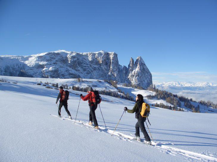 Auch das Skitourengehen auf der Seiser Alm ist einzigartig.