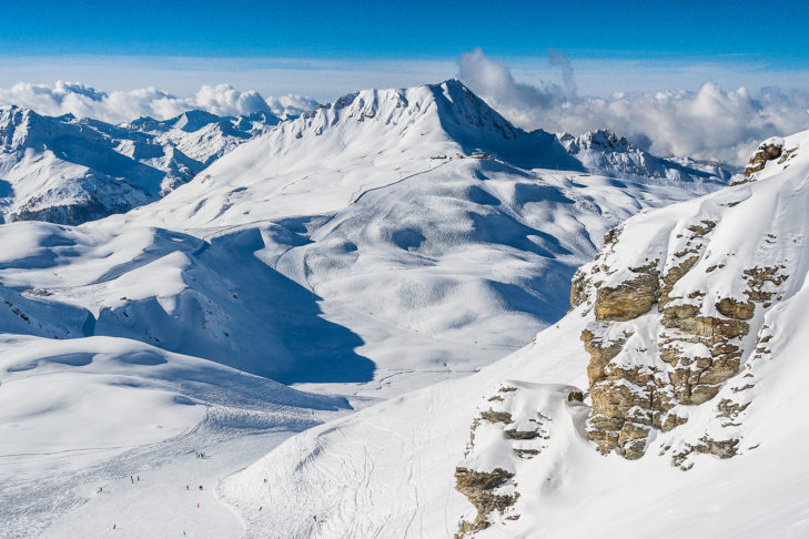 Weitläufige Pistenlandschaft von Les Arcs.