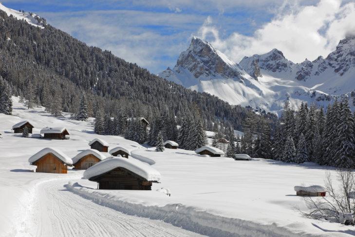 Dsa Fassatal ist ein unberührtes Hochtal mit sattem Schneeaufkommen.