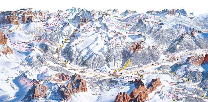 Pistenplan Val di Fassa-Carezza