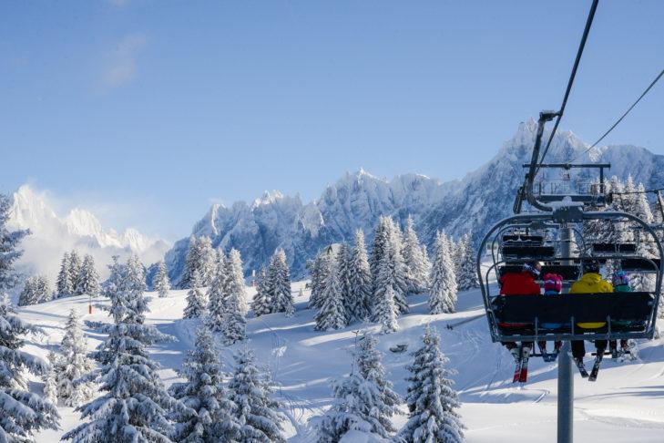 Auch aus dem Lift ist das Panorama im Skigebiet Chamonix-Mont Blanc atemberaubend.