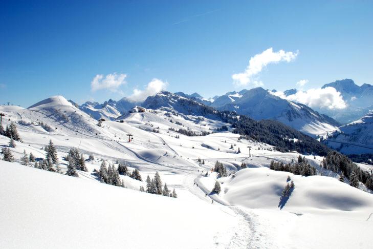 Traumhaftes Wetter im Skigebiet Damüls-Mellau.