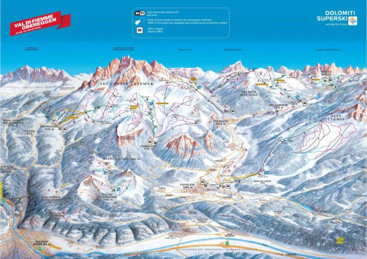 Pistenplan Val di Fiemme-Obereggen