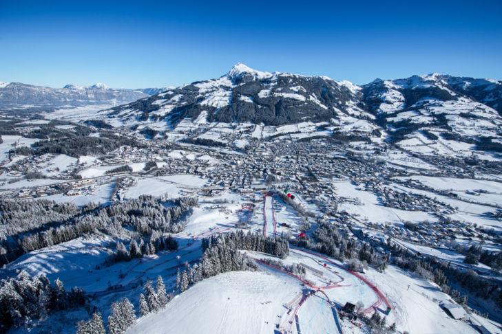 """Die legendäre """"Streif"""" im Skigebiet Kitzbühel."""