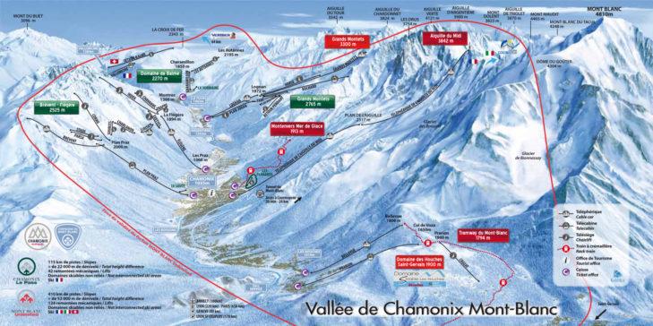 Pistenplan Chamonix-Mont Blanc