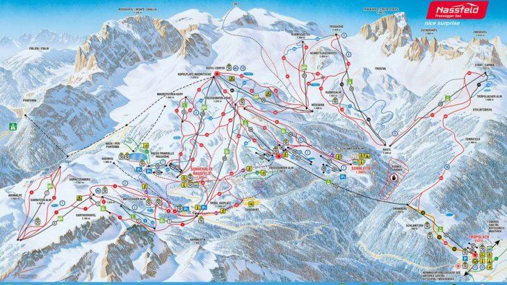 Pistenplan Skigebiet Nassfeld-Pressegger.
