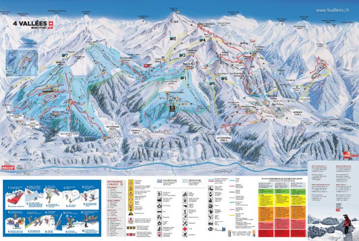 Pistenplan Skigebiet 4 Vallées inklusive La Printse