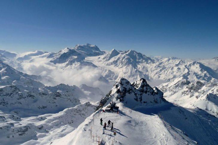Herrliches Bergpanorama am Mont Fort, der höchsten Erhebung der 4 Vallées.
