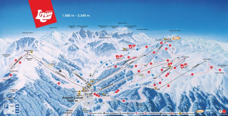 Pistenplan Skigebiet Axamer Lizum
