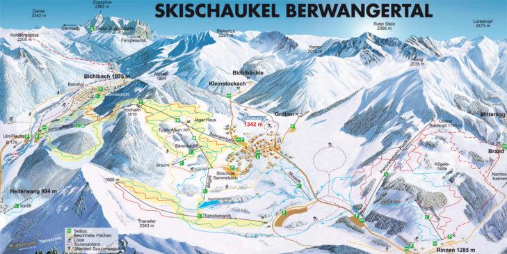 Pistenplan Skischaukel Berwangertal