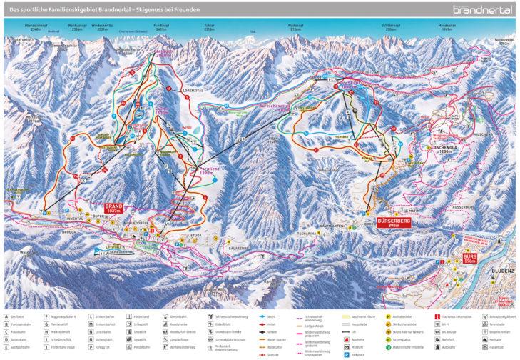 Pistenplan Skigebiet Brandnertal
