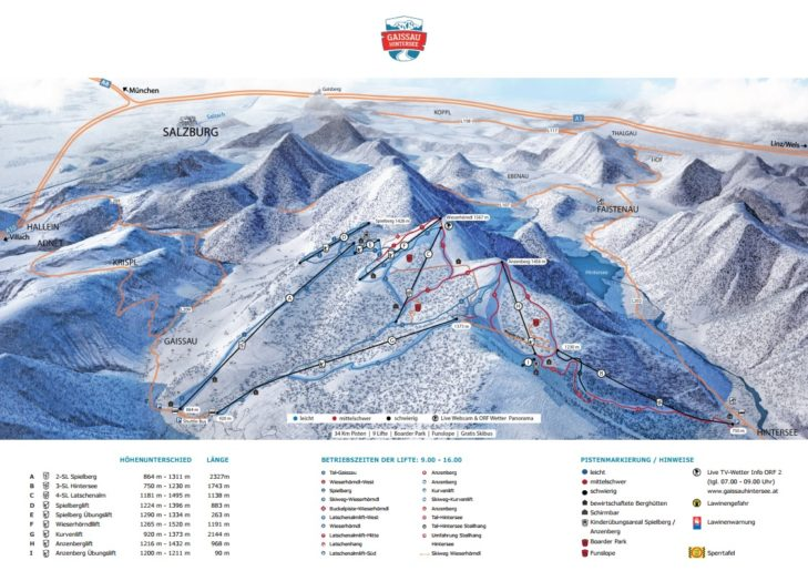 Pistenplan Skigebiet Gaissau-Hintersee