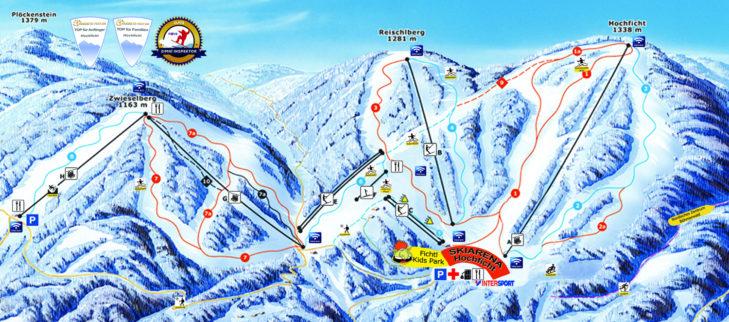 Pistenplan Skigebiet Hochficht