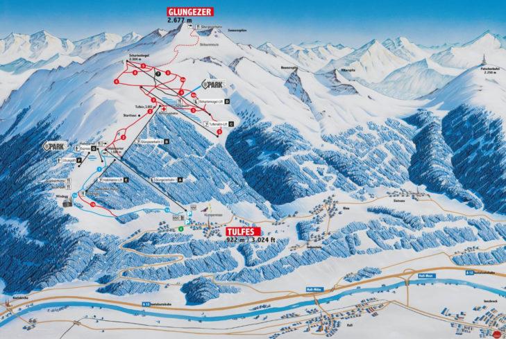 Pistenplan Skigebiet Glungezer