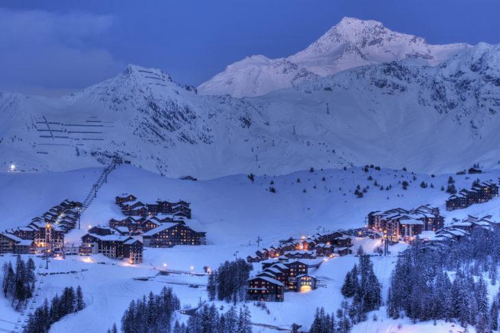 Skifahren in Frankreich: Abendstimmung in La Plagne.